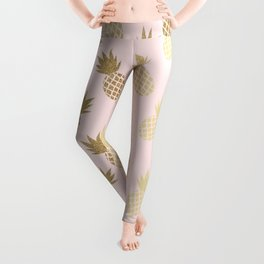 Pink & Gold Pineapples Pattern Leggings