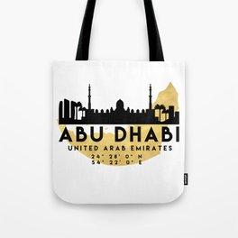 ABU DHABI UNITED ARAB EMIRATES SILHOUETTE SKYLINE MAP ART Tote Bag