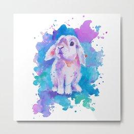 White bunny on blue Metal Print