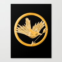 mockingjay Canvas Prints featuring Mockingjay by AriesNamarie
