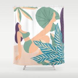 Girl At Beach Having Summer Fun Shower Curtain
