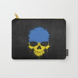 Flag of Ukraine on a Chaotic Splatter Skull Carry-All Pouch