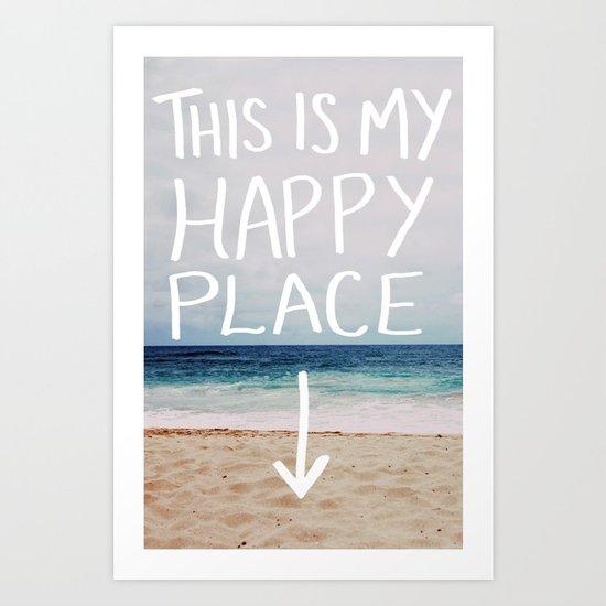 My Happy Place (Beach) Art Print