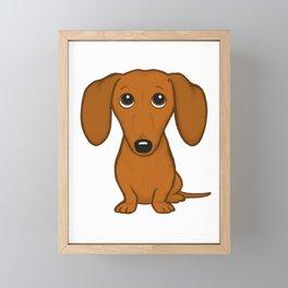 Shorthaired Dachshund Cartoon Dog Framed Mini Art Print