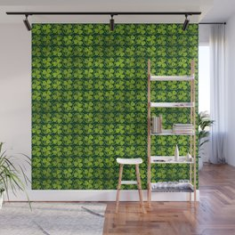 Irish Shamrock -Clover Green Glitter pattern Wall Mural