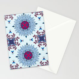 blue and red pattern Stationery Cards