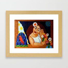The woman in the window Framed Art Print