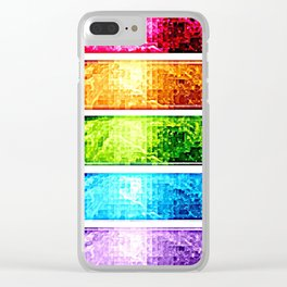Rainbow Nebula Pixels Panel Art Clear iPhone Case