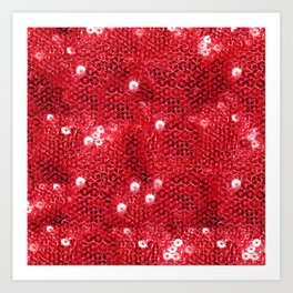 Faux Red Sequin Background Art Print