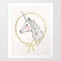 unicorn Art Prints featuring Unicorn by Kelli Murray