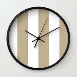 Wide Vertical Stripes - White and Khaki Brown Wall Clock