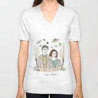 scully V-neck T-shirts featuring Mulder and Scully 4Ever by Mali Fischer