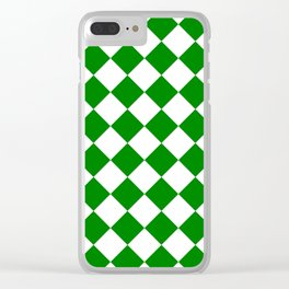 Large Diamonds - White and Green Clear iPhone Case