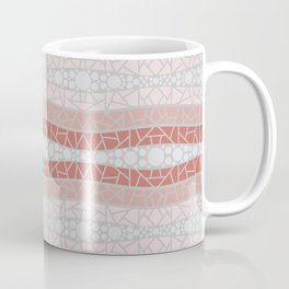 Mosaic Wavy Stripes in Terracotta, Pink and Gray Coffee Mug