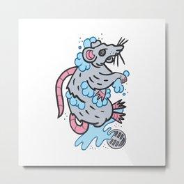 Shower Rat Metal Print