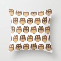 owls Throw Pillows featuring Owls by sheena hisiro