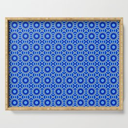 Blue and Yellow Circle Repeating Pattern Serving Tray