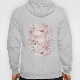 Nostalgic Letter and Postcard Collage Soft Pink Hoody