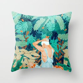 Backyard #illustration #painting Throw Pillow