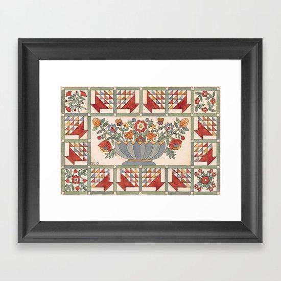 Applique Florals Framed Art Print