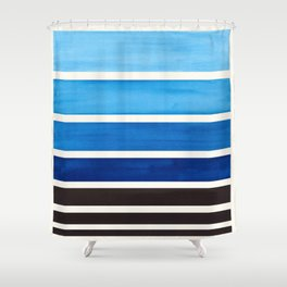 Prussian Blue Minimalist Watercolor Mid Century Staggered Stripes Rothko Color Block Geometric Art Shower Curtain