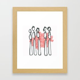 People with Red Lines Framed Art Print