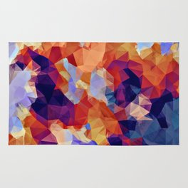 psychedelic geometric polygon pattern abstract in orange brown blue purple Rug