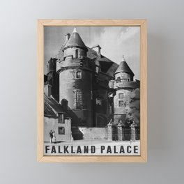 retro b/w Falkland Palace travel poster Framed Mini Art Print