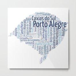 RS Brasil Cities WordCloud Metal Print