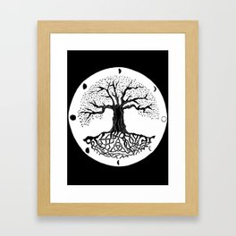 black and white tree of life with moon phases and celtic trinity knot III Framed Art Print