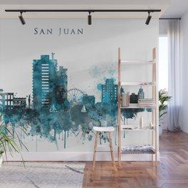 San Juan Monochrome Blue Skyline Wall Mural