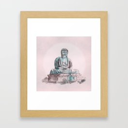 Peace and Harmony watercolor buddha pastel illustration Framed Art Print