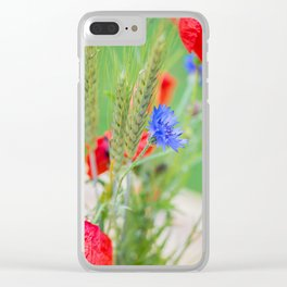 Bunch of of red poppies Clear iPhone Case