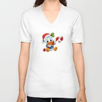 donald duck V-neck T-shirts featuring Christmas baby Donald Duck by Yuliya L