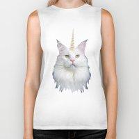unicorn Biker Tanks featuring Unicorn Cat by Oh Monday
