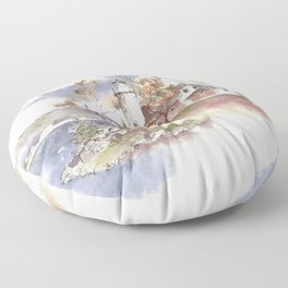 Summer at Eagle Harbor Lighthouse Floor Pillow