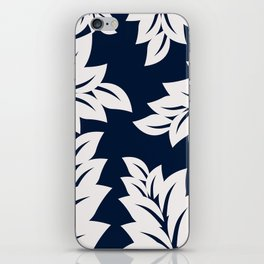 Navy Blue tropical leaves iPhone Skin