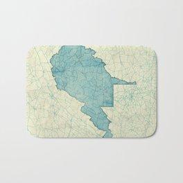 West Virginia State Map Blue Vintage Bath Mat