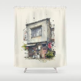 House in the town of Tateishi, Tokyo, Japan Shower Curtain