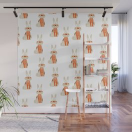 Cute funny hand drawn orange brown vector rabbit pattern Wall Mural
