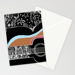 Guitar & stars Stationery Cards