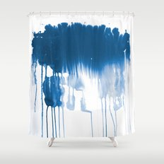 Paint 1 - indigo blue drip abstract painting modern minimal trendy home decor dorm college art Shower Curtain