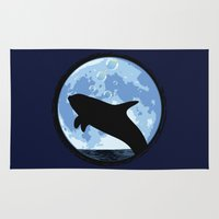onesie Area & Throw Rugs featuring Dolphin bubbly in the moonlight by kamonkey
