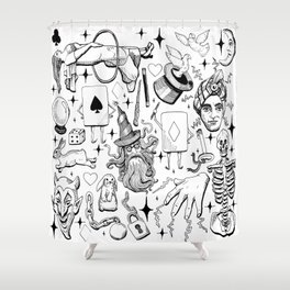 Antique Magic Starter Pack Black and White Shower Curtain
