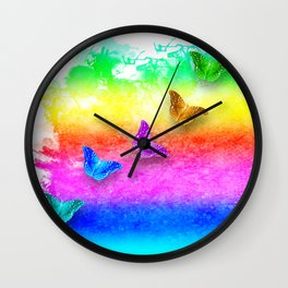 Painted rainbow butterflies Wall Clock