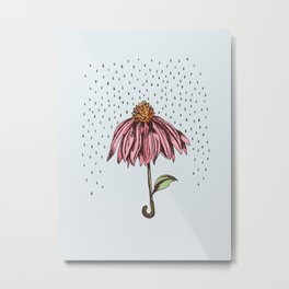 Floral II, Rain Metal Print
