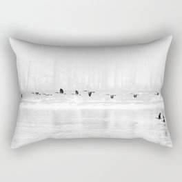 Canadian Geese flying formation  over the river through the fog Rectangular Pillow