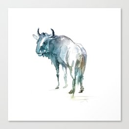 Wildebeest / Abstract animal portrait. Canvas Print