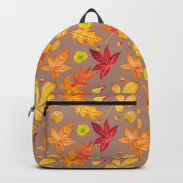Fall Leaves Thankful Blessed Grateful Typography Backpack