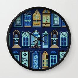 Moroccan Doors – Navy Palette Wall Clock